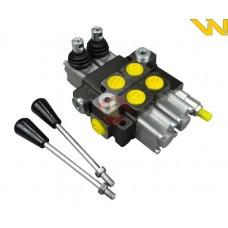Rozdzielacz hydrauliczny 2-sekcyjny przepływ 40L z zatrzaskami Waryński