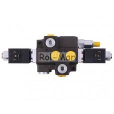 Rozdzielacz hydrauliczny 1-sekcyjny max przepływ 50L sterowany elektrycznie 12V DC Waryński