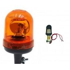 LAMPA OSTRZEGAWCZA BŁYSKOWA KOGUT obrotowa na żarówkę 12 V + trzpień