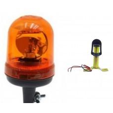 LAMPA OSTRZEGAWCZA BŁYSKOWA KOGUT obrotowa na żarówkę 24 V + trzpień