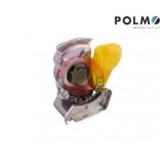 Złącze powietrza miękkie z zaworem żółte dwuobwodowe 22x1.5 POLMO