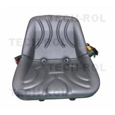 Siedzenie jednoczęściowe czarne do wózków widłowych z pasem bezpieczeństwa