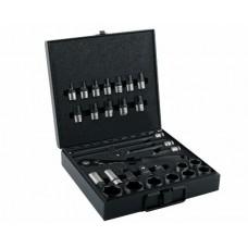 Zestaw nasadek 1/2 cala z grzechotką i akcesoriami w kasecie metalowej 30 el. Waryński